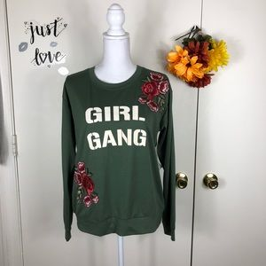 LILY WHITE WOMEN SWEATSHIRT EMBROIDERED CREW SZ L